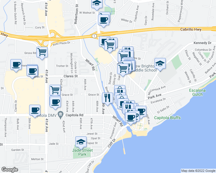 map of restaurants, bars, coffee shops, grocery stores, and more near 511 Sunset Drive in Capitola