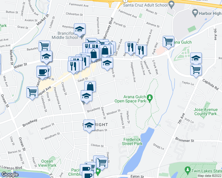 map of restaurants, bars, coffee shops, grocery stores, and more near 527 Frederick Street in Santa Cruz