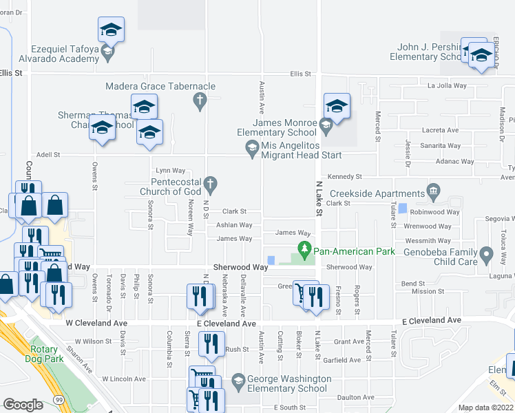 map of restaurants, bars, coffee shops, grocery stores, and more near 621 East Clark Street in Madera