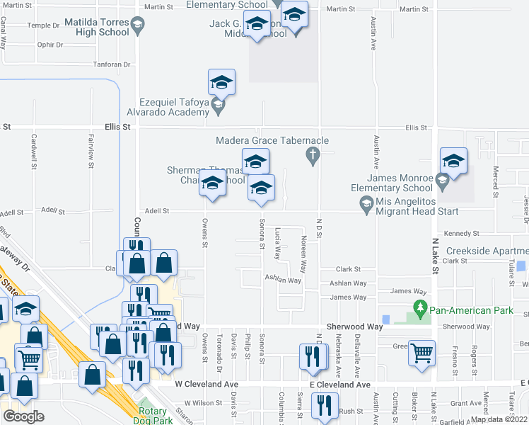 map of restaurants, bars, coffee shops, grocery stores, and more near 110 East Adell Street in Madera