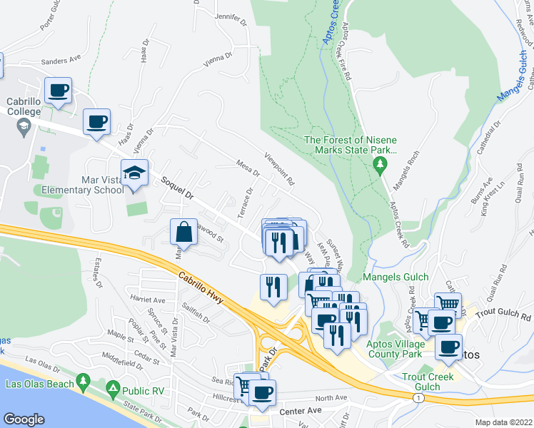 map of restaurants, bars, coffee shops, grocery stores, and more near 9 Windemere Lane in Aptos