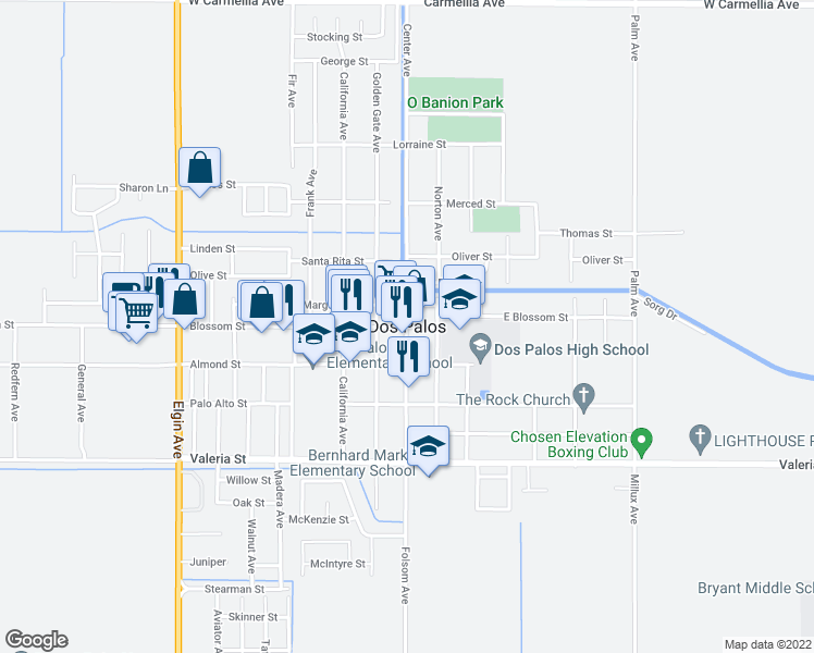 map of restaurants, bars, coffee shops, grocery stores, and more near 1524 Center Avenue in Dos Palos