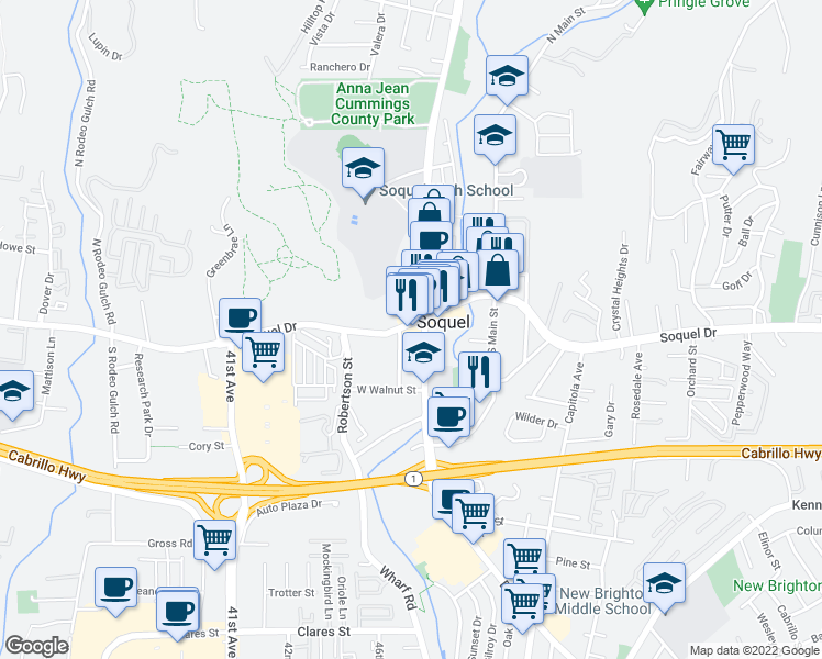 map of restaurants, bars, coffee shops, grocery stores, and more near 4620 Soquel Drive in Soquel