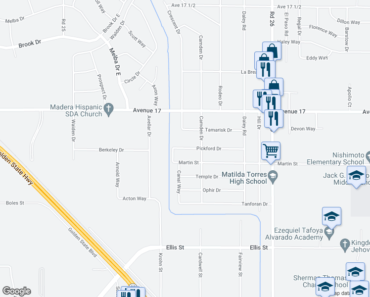 map of restaurants, bars, coffee shops, grocery stores, and more near 25549 Pickford Drive in Madera