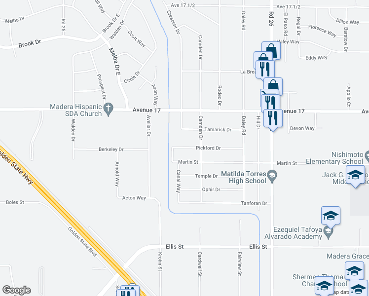 map of restaurants, bars, coffee shops, grocery stores, and more near 25529-25549 Pickford Drive in Madera