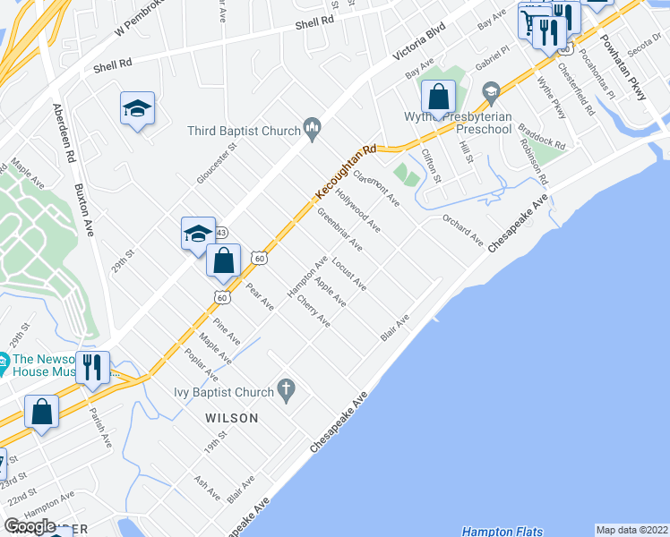 map of restaurants, bars, coffee shops, grocery stores, and more near 131 Locust Avenue in Hampton