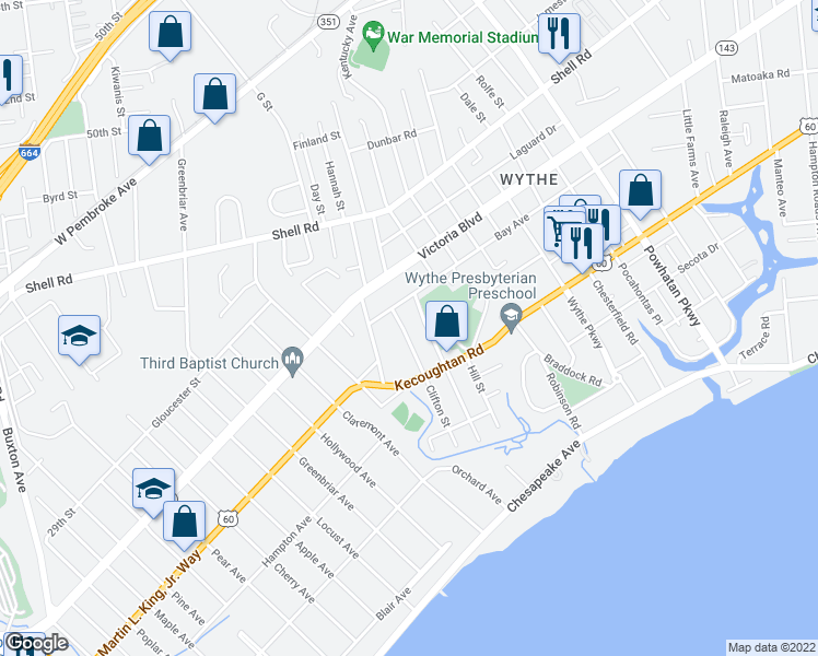 map of restaurants, bars, coffee shops, grocery stores, and more near 246 Clifton Street in Hampton