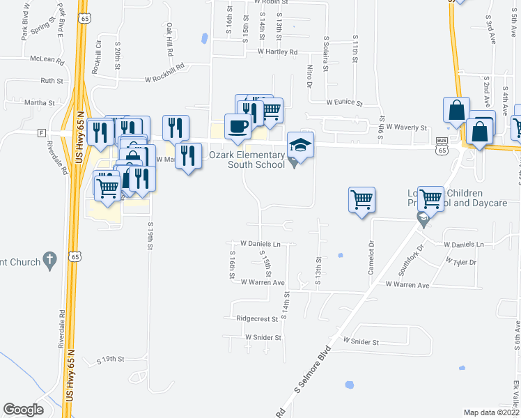 map of restaurants, bars, coffee shops, grocery stores, and more near 1780 South 15th Street in Ozark
