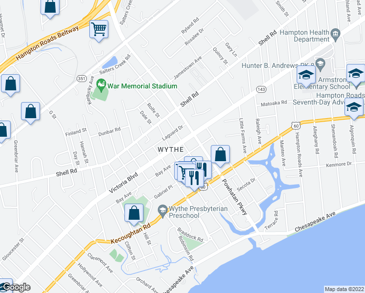 map of restaurants, bars, coffee shops, grocery stores, and more near 2420 Victoria Boulevard in Hampton