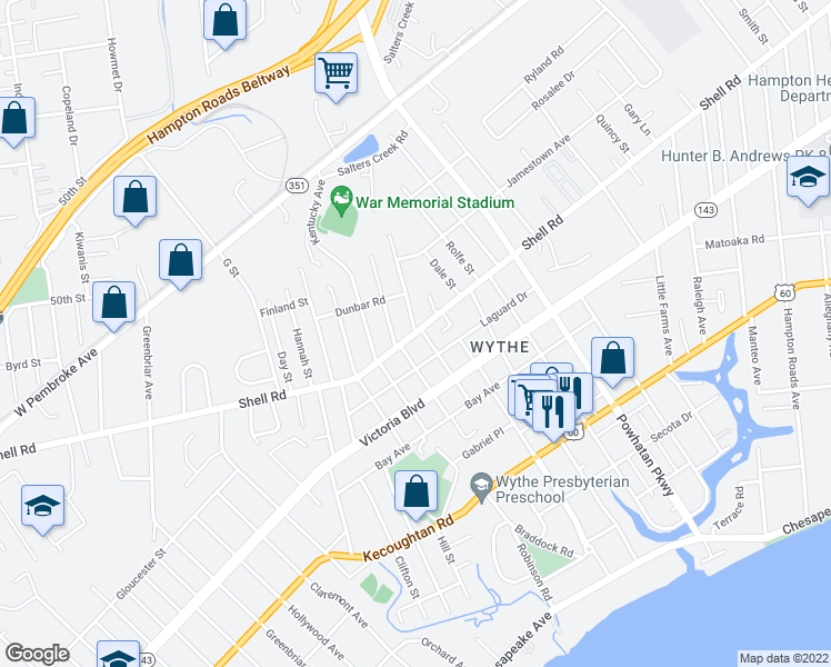 map of restaurants, bars, coffee shops, grocery stores, and more near Shell Road in Hampton