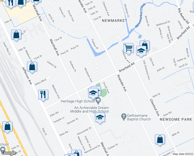 map of restaurants, bars, coffee shops, grocery stores, and more near 0 Newport Avenue in Newport News