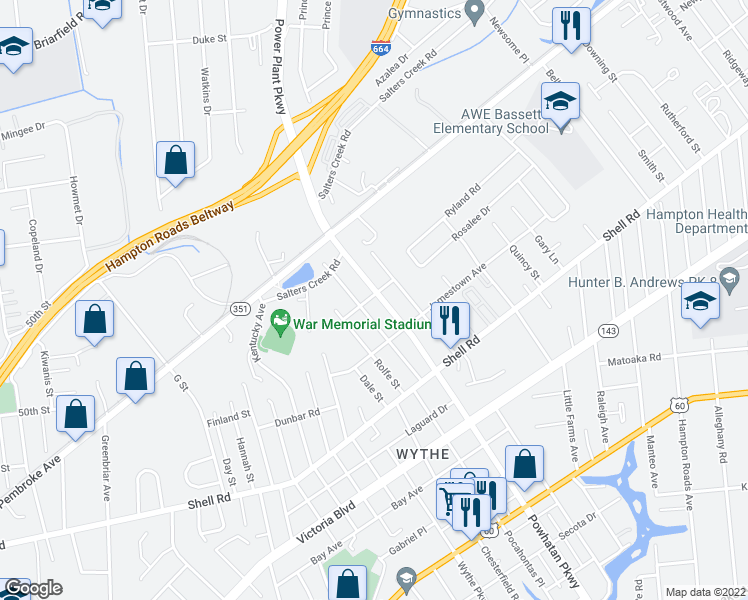 map of restaurants, bars, coffee shops, grocery stores, and more near 739 Powhatan Parkway in Hampton
