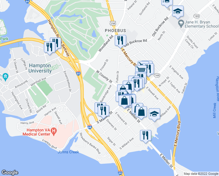 map of restaurants, bars, coffee shops, grocery stores, and more near 34 Bainbridge Avenue in Hampton