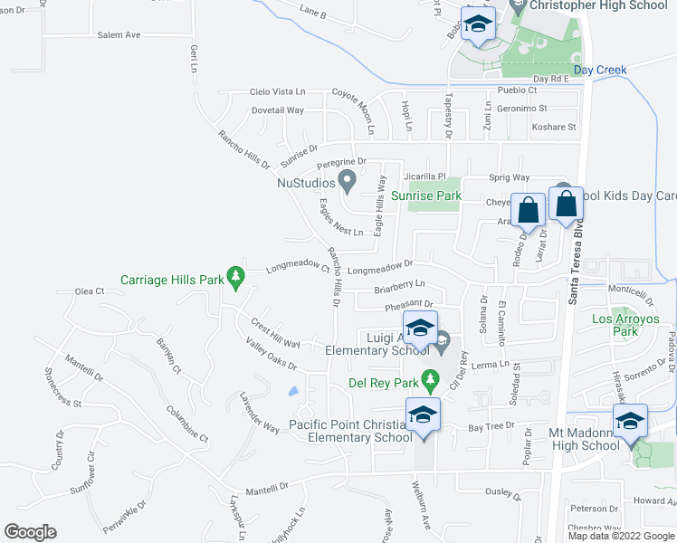 map of restaurants, bars, coffee shops, grocery stores, and more near Rancho Hills Drive & Longmeadow Drive in Gilroy