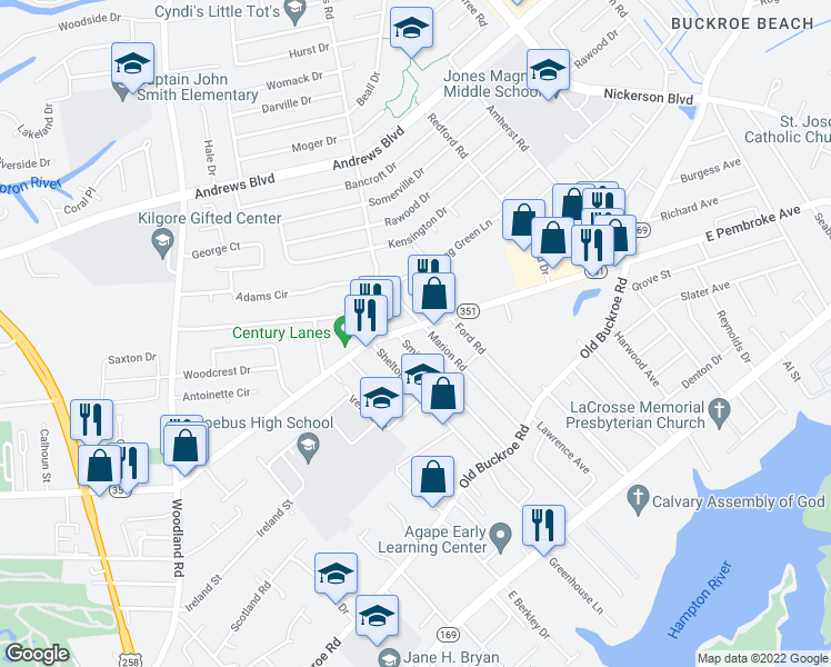 map of restaurants, bars, coffee shops, grocery stores, and more near 1710 East Pembroke Avenue in Hampton