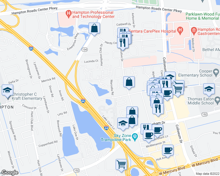 map of restaurants, bars, coffee shops, grocery stores, and more near 507 Marcella Road in Hampton