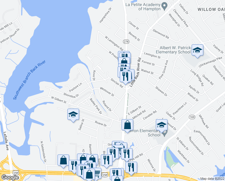 map of restaurants, bars, coffee shops, grocery stores, and more near 7 Rebel Street in Hampton