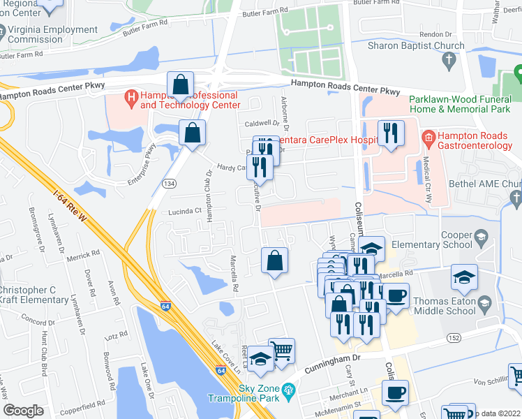 map of restaurants, bars, coffee shops, grocery stores, and more near in Hampton