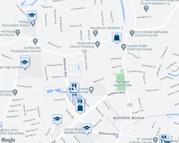 map of restaurants, bars, coffee shops, grocery stores, and more near 3 Alton Court in Hampton