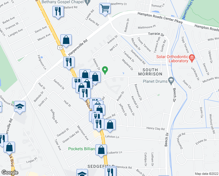 map of restaurants, bars, coffee shops, grocery stores, and more near 610-698 Adams Drive in Newport News