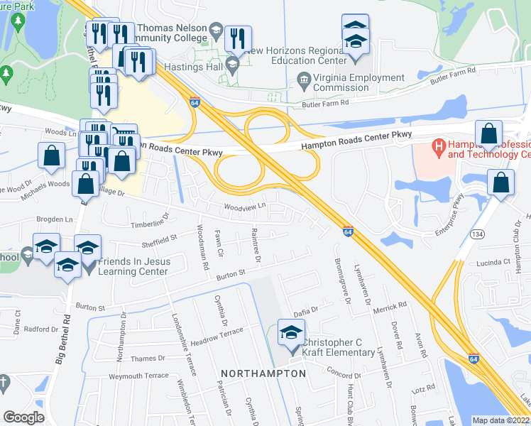 map of restaurants, bars, coffee shops, grocery stores, and more near 1 Treebark Place in Hampton