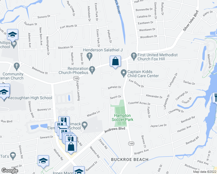 map of restaurants, bars, coffee shops, grocery stores, and more near 200 Ranalet Drive in Hampton