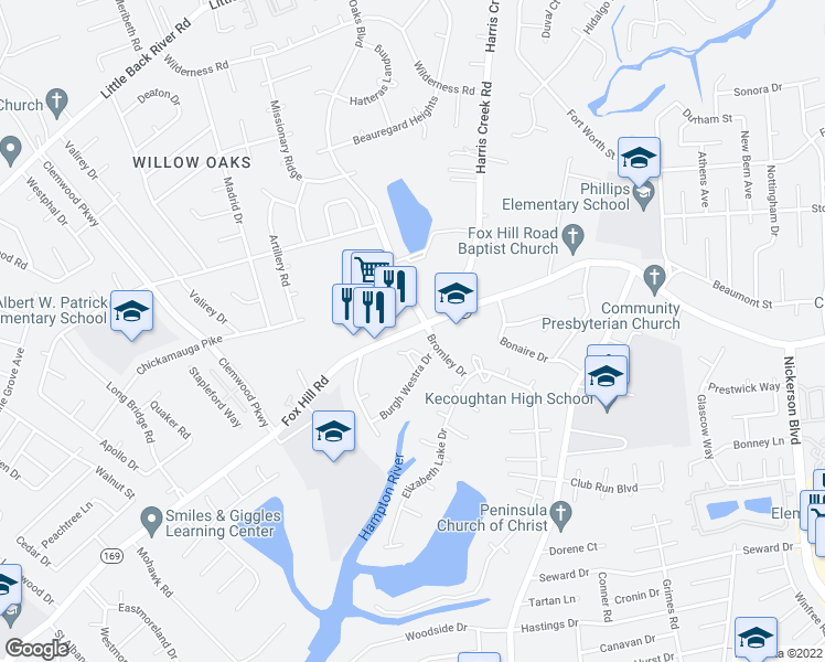 map of restaurants, bars, coffee shops, grocery stores, and more near 13 Willow Oaks Boulevard in Hampton