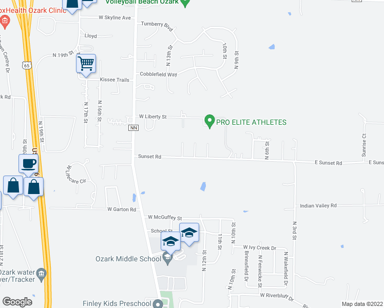 map of restaurants, bars, coffee shops, grocery stores, and more near 4302 Jenni Ct in Ozark