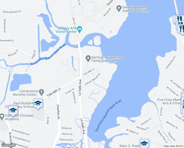 map of restaurants, bars, coffee shops, grocery stores, and more near 132 Tide Mill Lane in Hampton