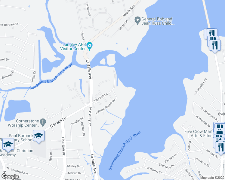 map of restaurants, bars, coffee shops, grocery stores, and more near 132-188 Tide Mill Lane in Hampton