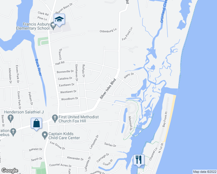 map of restaurants, bars, coffee shops, grocery stores, and more near 300-316 Silver Isles Boulevard in Hampton