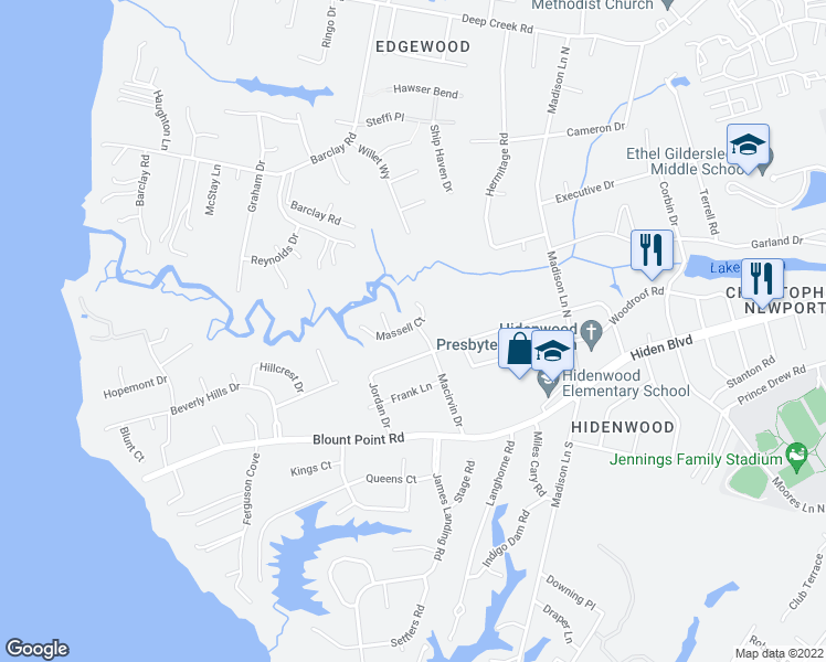 map of restaurants, bars, coffee shops, grocery stores, and more near 206 Massell Court in Newport News