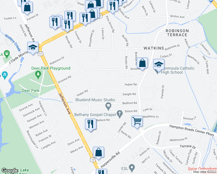 map of restaurants, bars, coffee shops, grocery stores, and more near 80 Huber Road in Newport News