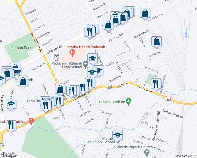 map of restaurants, bars, coffee shops, grocery stores, and more near 2400 Adams Street in Paducah