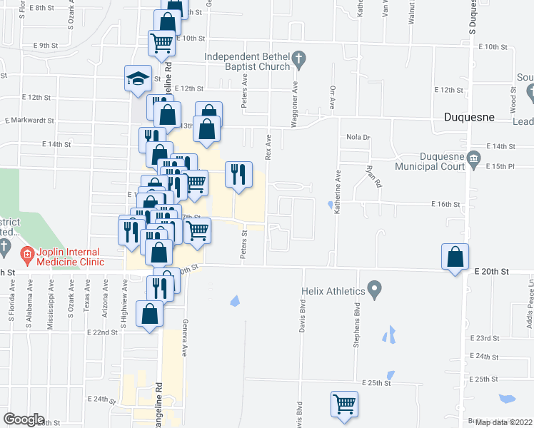 map of restaurants, bars, coffee shops, grocery stores, and more near 1501 Rex Avenue in Joplin
