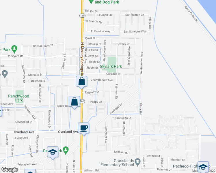 map of restaurants, bars, coffee shops, grocery stores, and more near 539 Lexington Court in Los Banos