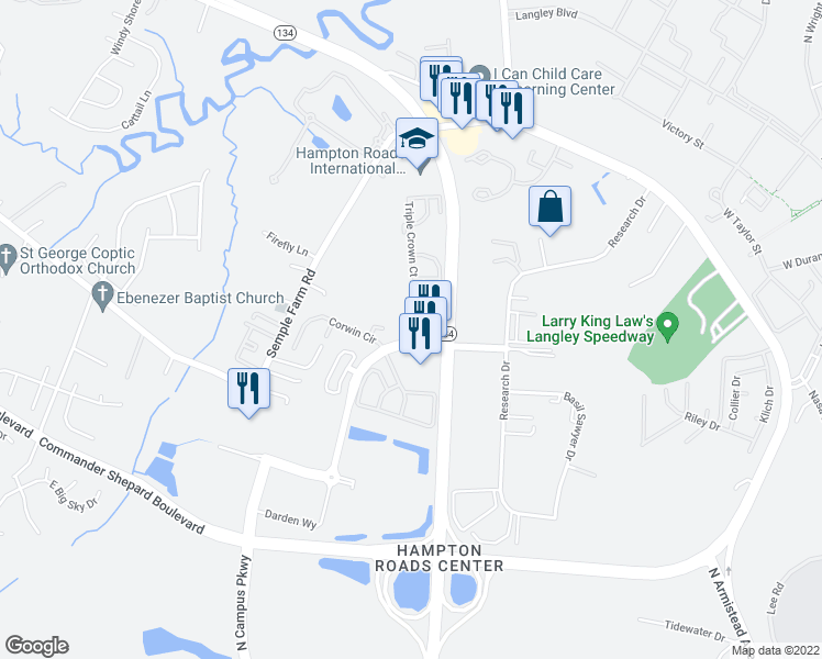map of restaurants, bars, coffee shops, grocery stores, and more near 99 Derby Drive in Hampton