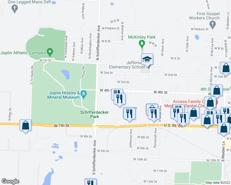 map of restaurants, bars, coffee shops, grocery stores, and more near 2516 West 4th Street in Joplin