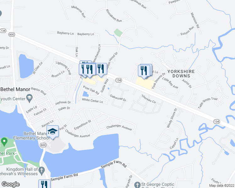 map of restaurants, bars, coffee shops, grocery stores, and more near 3100 Hampton Highway in Yorktown