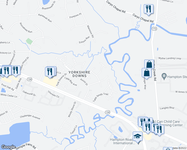 map of restaurants, bars, coffee shops, grocery stores, and more near 104 Saint George Drive in Yorktown