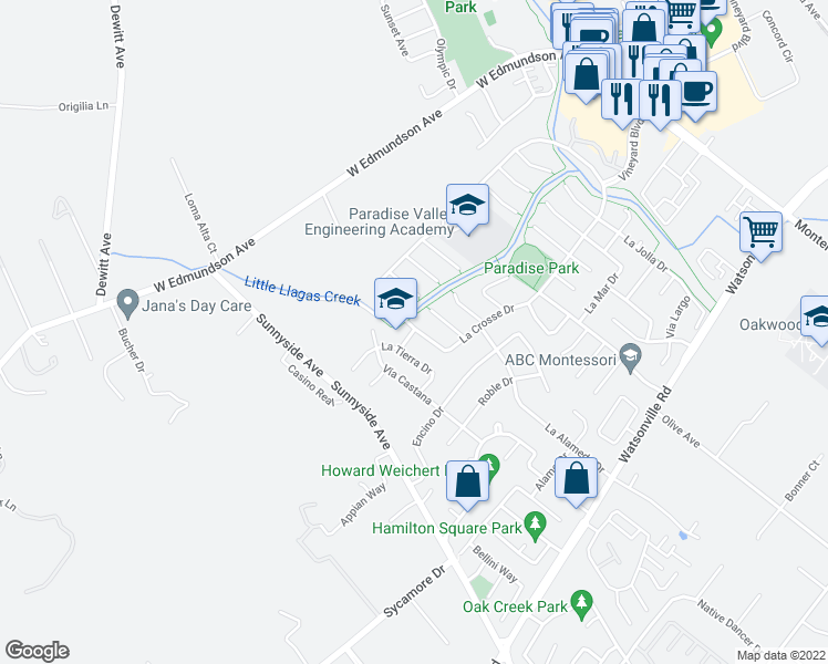 map of restaurants, bars, coffee shops, grocery stores, and more near 775 La Grande Drive in Morgan Hill