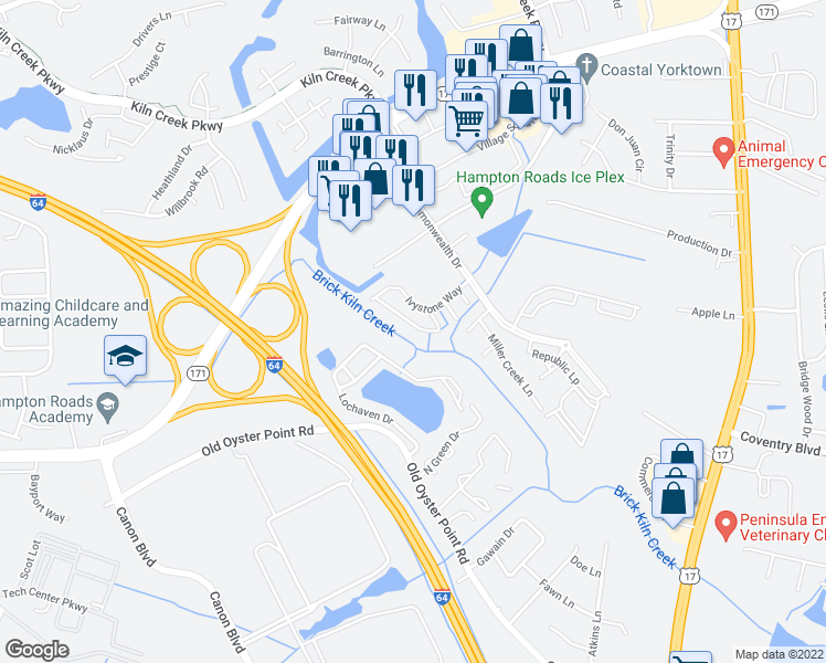 map of restaurants, bars, coffee shops, grocery stores, and more near 826 Greystone Trace in Newport News