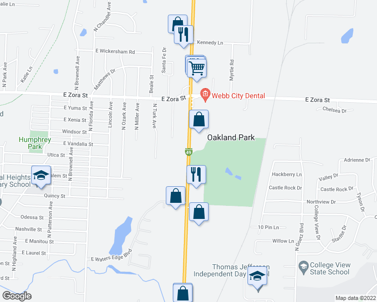 map of restaurants, bars, coffee shops, grocery stores, and more near 1919 North Range Line Road in Joplin