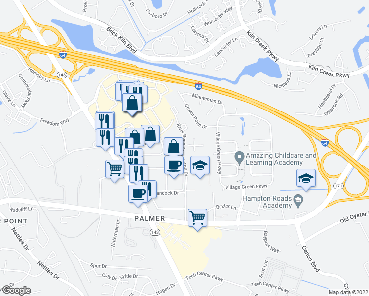 map of restaurants, bars, coffee shops, grocery stores, and more near 638 River Bend Court in Newport News