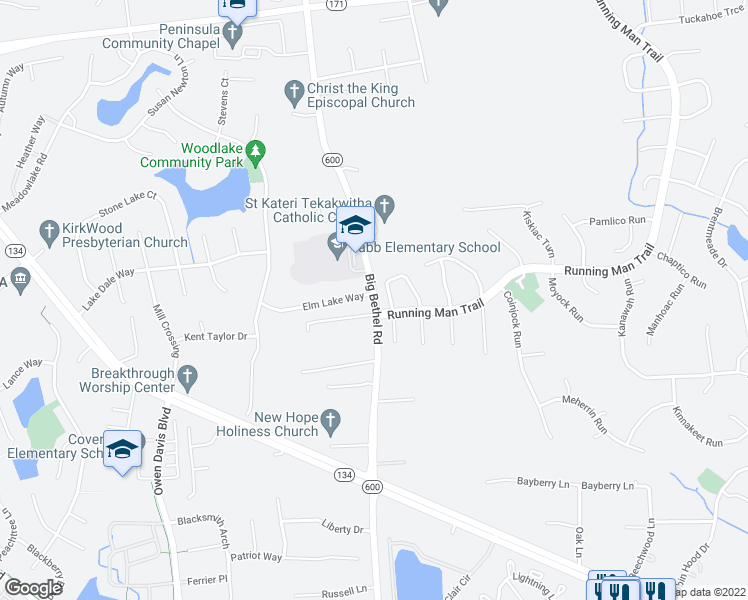 map of restaurants, bars, coffee shops, grocery stores, and more near 3523 Big Bethel Road in Yorktown