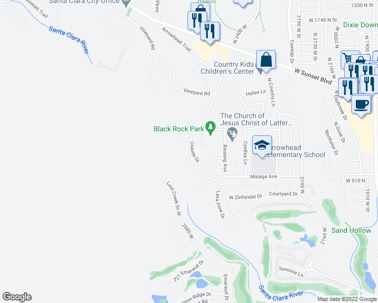 map of restaurants, bars, coffee shops, grocery stores, and more near 480 Michael Circle in Santa Clara