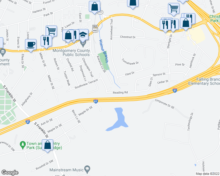 map of restaurants, bars, coffee shops, grocery stores, and more near 535-565 Reading Road in Christiansburg