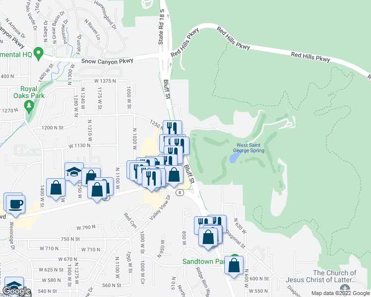 map of restaurants, bars, coffee shops, grocery stores, and more near 855 West 1130 North Circle in St. George