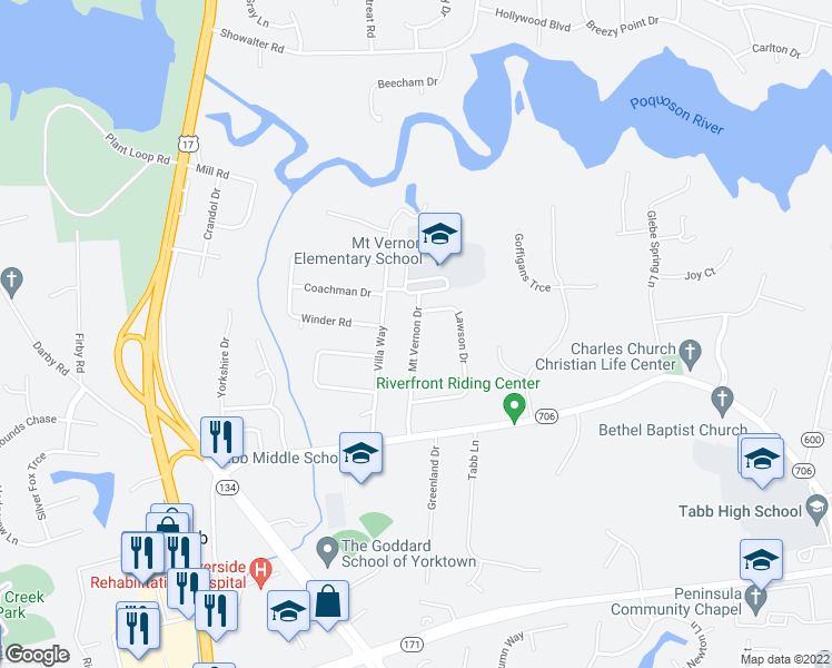 map of restaurants, bars, coffee shops, grocery stores, and more near 215 Mount Vernon Drive in Yorktown