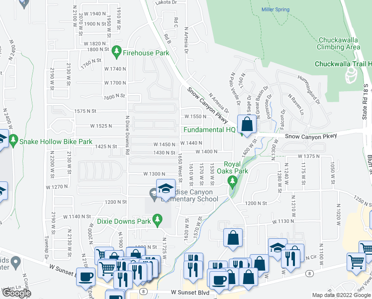 map of restaurants, bars, coffee shops, grocery stores, and more near 1628 West 1400 North in Saint George